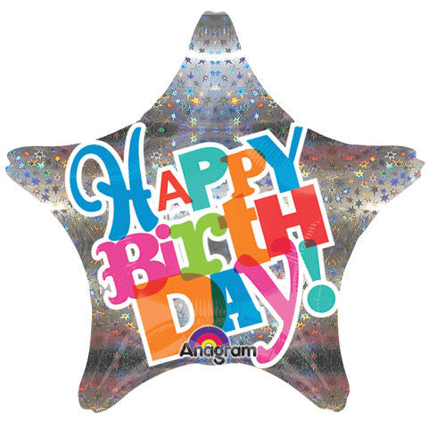 "18"" Bright Type Sparkle Birthday Holographic"