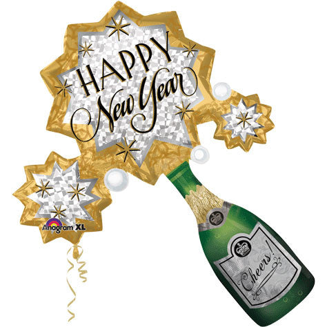 New Year Champagne Burst Super Shape Foil Balloon