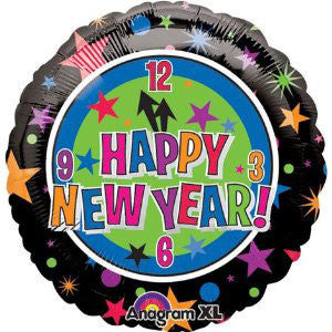 "18"" Happy New Year Clock Foil Balloon"