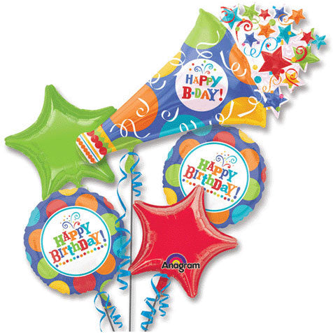 Birthday Fever Horn Bouquet of Balloons (5pc)