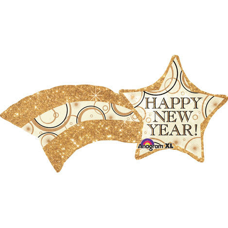 New Year Shooting Gold Star Super Shape Foil Balloon