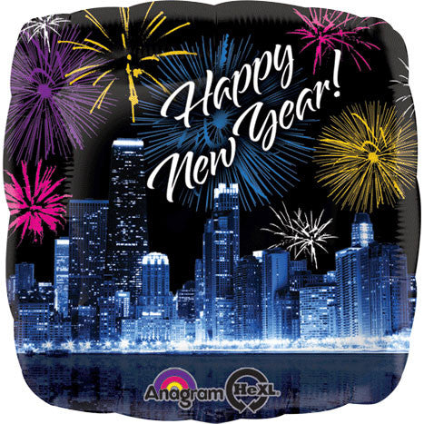 "18"" New Year Skyline & Fireworks Foil Balloon"