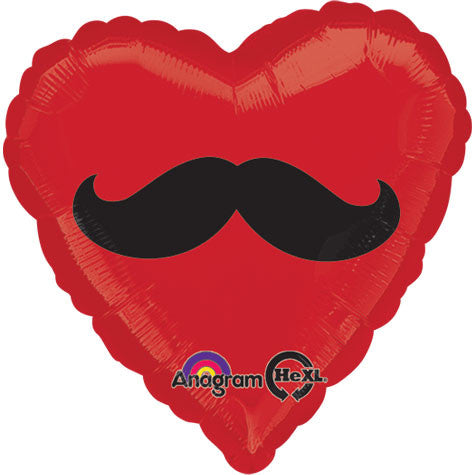 "18"" Mustache Heart Foil Balloon"