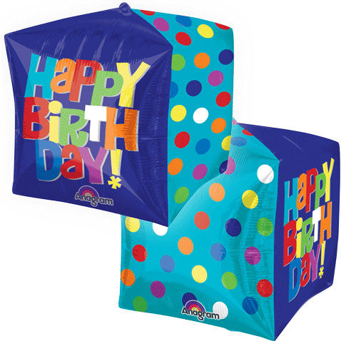 "15"" Bright Happy Birthday Cube"