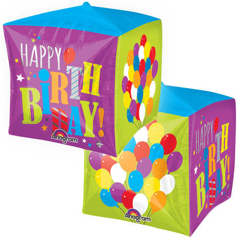 "15"" Birthday Balloons Cube"