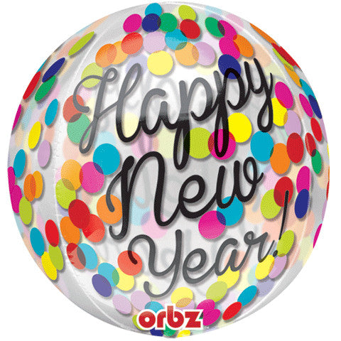 "15"" Confetti New Year Clear Orbz"