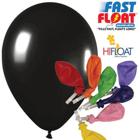 "Betallatex 12"" Deluxe Black Fast Float Latex Balloons (25ct)"