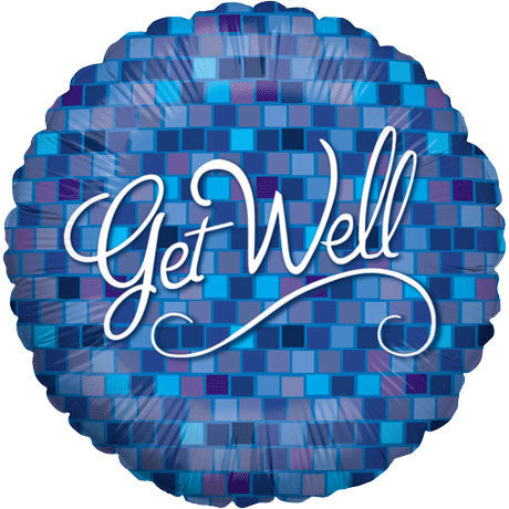 "18"" Get Well Blue Squares"
