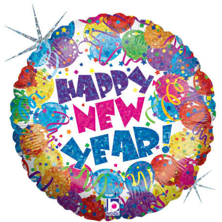 "18"" Party New Year Holographic Foil Balloon"