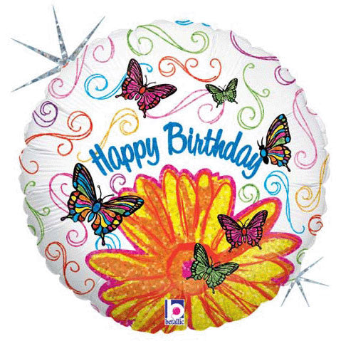 "18"" Pop-art Butterfly Flower Birthday Holographi"
