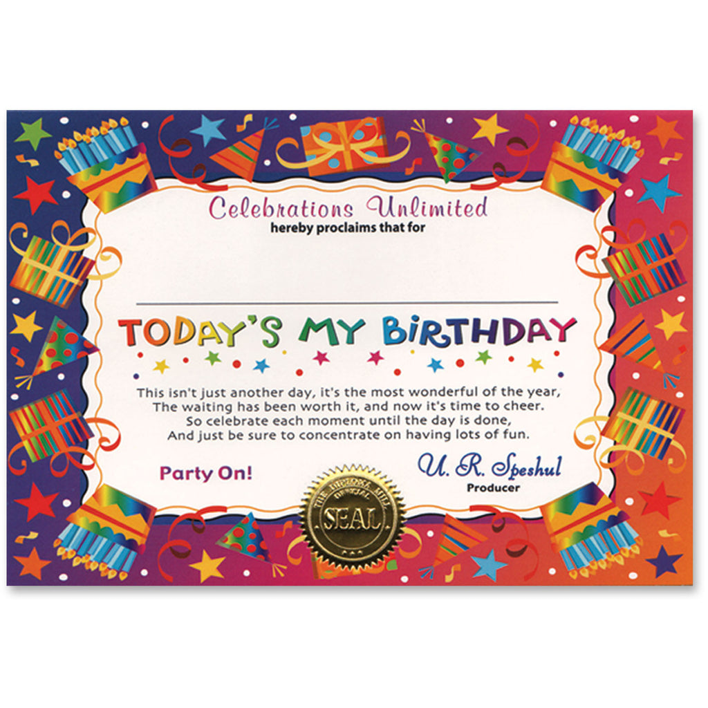 Today's My Birthday Certificate Greeting