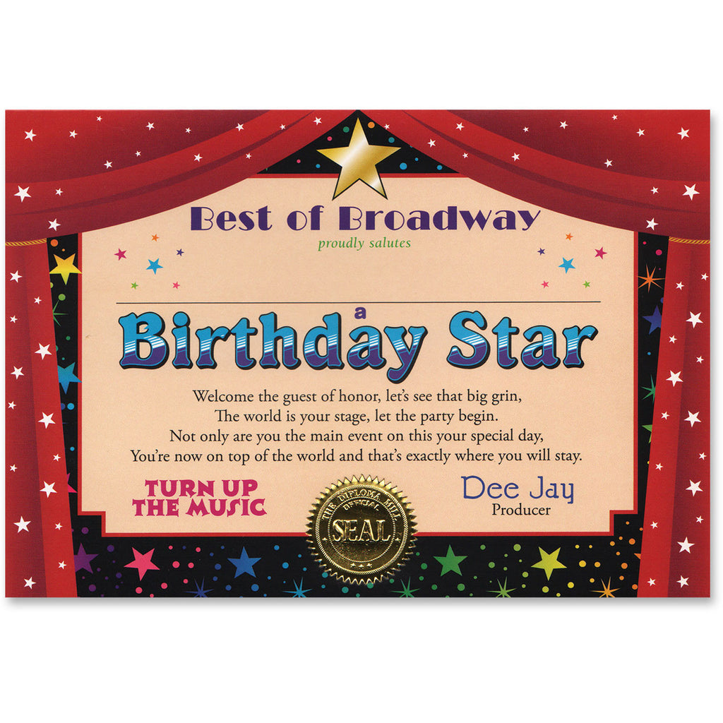 Birthday Star Certificate Greeting