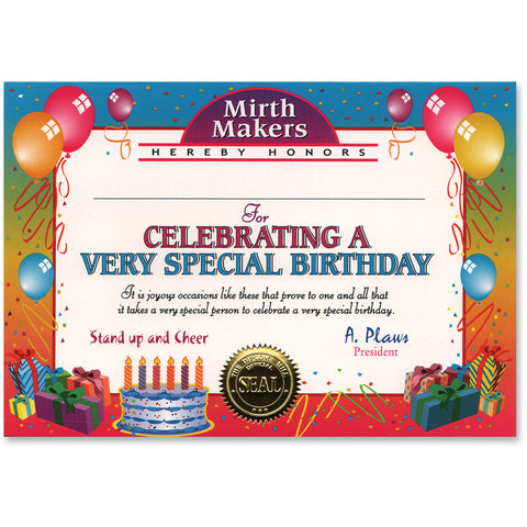 Very Special Birthday Certificate Greeting