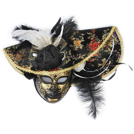 Black Venetian Mask With Hat