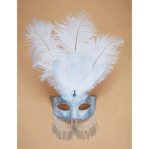White Venetian Half Mask With Feathers & Beads