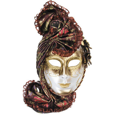 Brown Venetian Mask With Headpiece