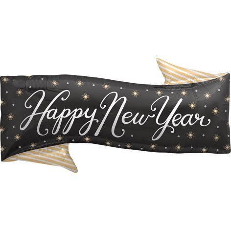 "31"" Happy New Year Banner Helium Shape Foil Balloon"