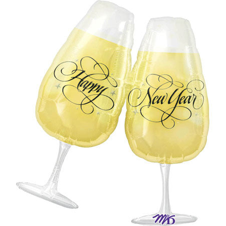 New Year Toasting Glasses Super Shape Foil Balloon