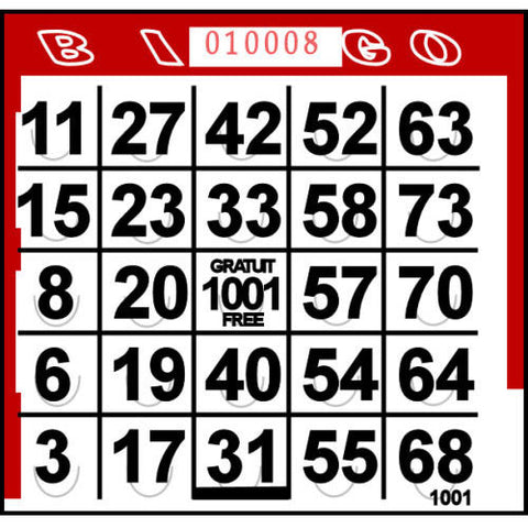 Red Pushout Bingo Cards (500 ct)