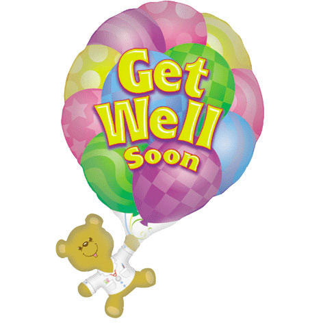 Get Well Bear With Balloon Helium Shape