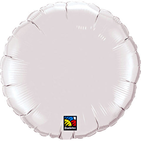 "18"" White Round Foil Balloon"