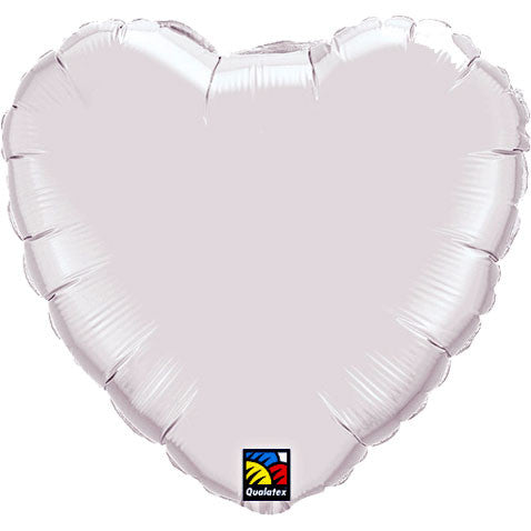 "18"" White Heart Foil Balloon"