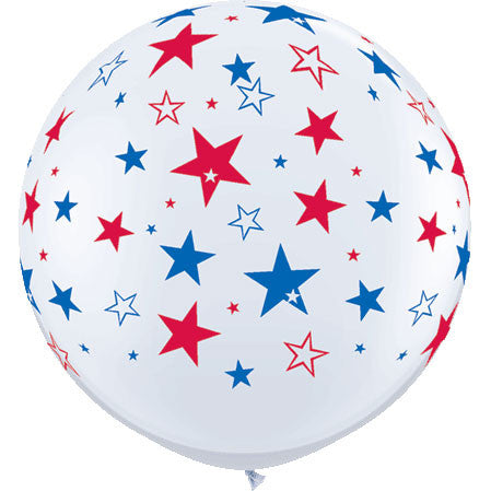 3' Red & Blue Stars On White (2/bag)