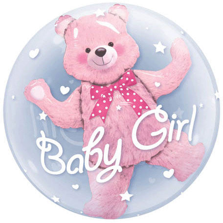 "24"" Baby Pink Bear Bubble Balloon"