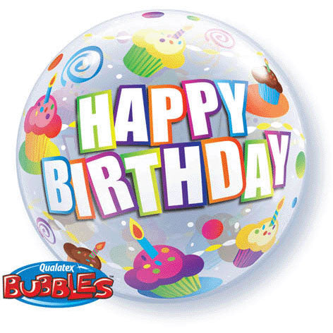 "22"" Birthday Colorful Cupcakes Bubble Balloon"