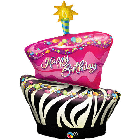 "41"" Birthday Funky Zebra Stripe Cake"