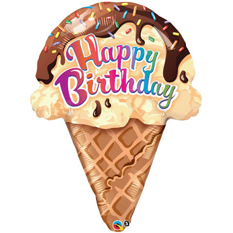 "27"" Birthday Ice Cream Cone Helium Shape"