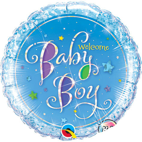 "18"" Welcome Baby Boy Stars Holographic"