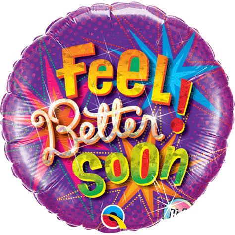 "18"" Feel Better Soon Star Bursts Holographic"