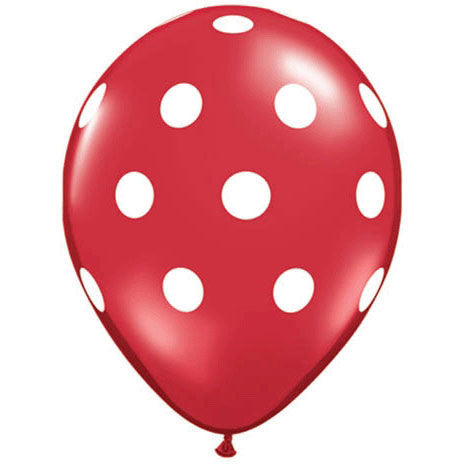 "11"" Big Polka Dots Red With Wh"