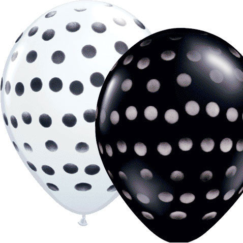 "11"" Polka Dot Spray Black/White Balloons (12 ct)"