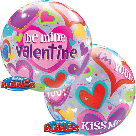 "22"" Be Mine Valentine Hearts Bubble Balloon"