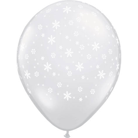 "11"" Snowflakes Around Clear Latex Balloons (10ct)"