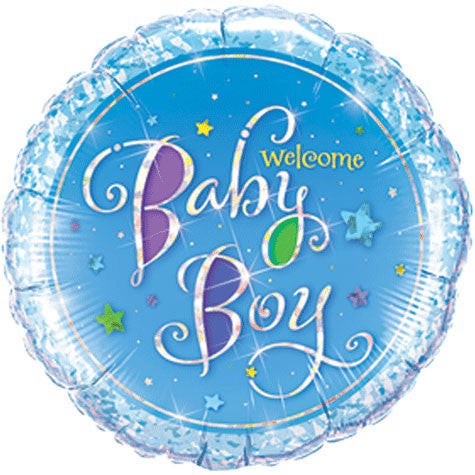 Welcome Baby Boy Stars Holographic Mini