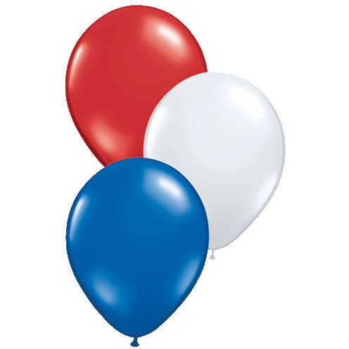 "11"" Patriotic Assortment Plain Balloons (10 ct)"