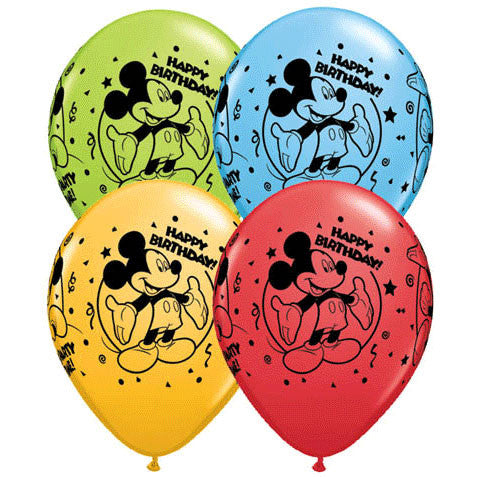 "11"" Mickey Happy Birthday Around Balloons (25 ct)"
