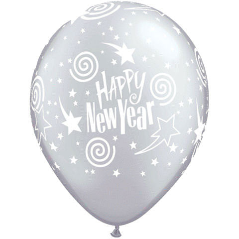 "11"" New Year's Swirling Stars Silver Balloons (10 ct)"