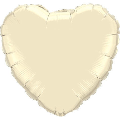 "18"" Pearl Ivory Heart Foil Balloon"