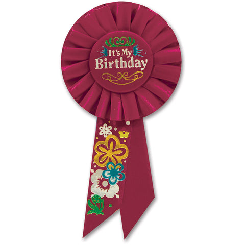 Red It's My Birthday Rosette