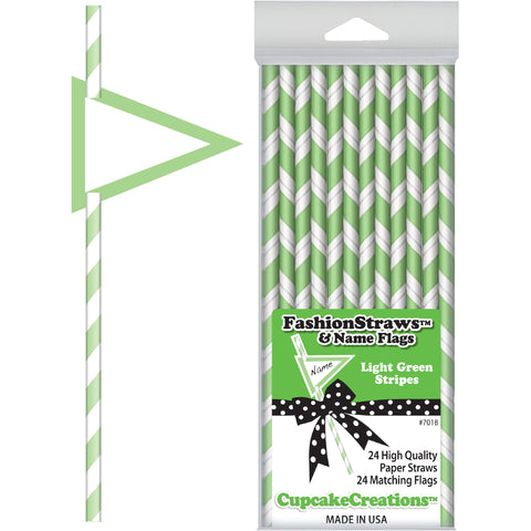 Light Green Striped Paper Straws