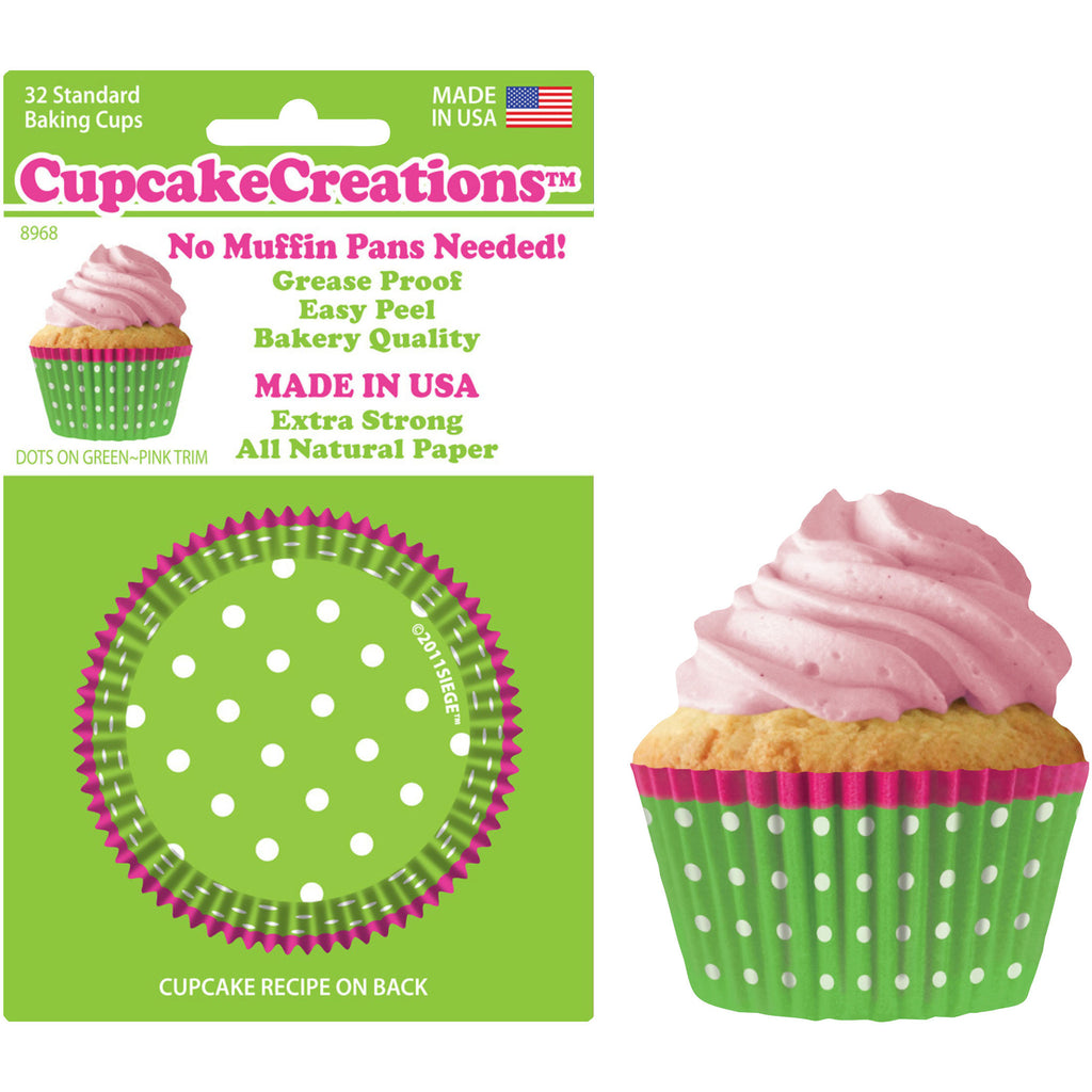 32 Piece Standard Green Dots w/Pink Trim