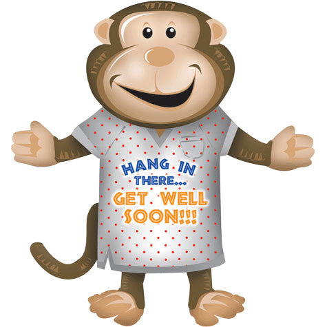 "33.5"" Get Well Monkey Helium Shape"