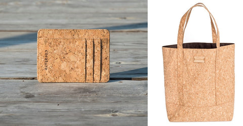 cork minimalist wallet and tote bag