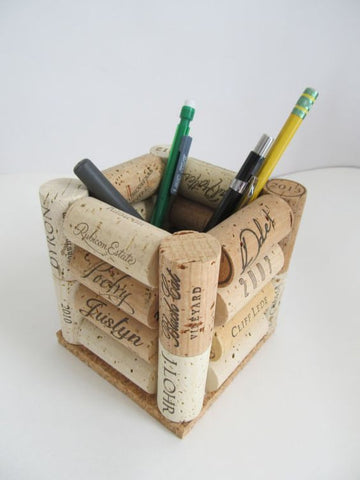Cork crafts pen and pencil holder