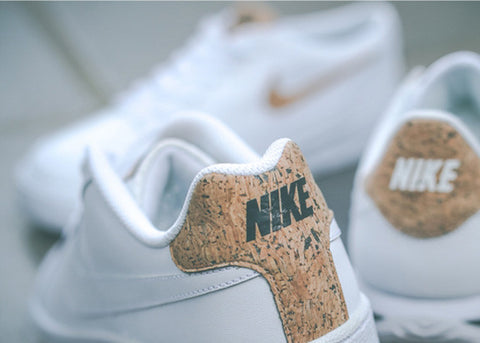 White cork shoes by nike