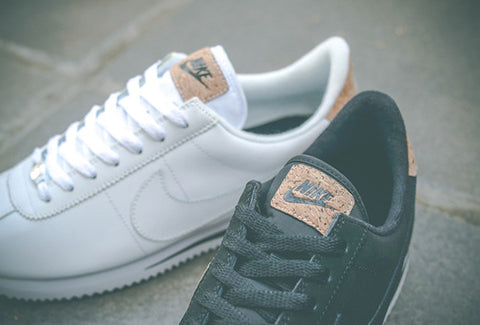 Nike black and white cork shoes
